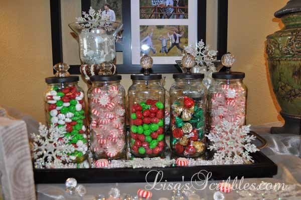 diy christmas candy jars christmas decorations crafts seasonal holiday decor