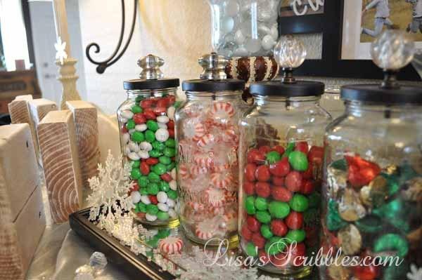 diy christmas candy jars, christmas decorations, crafts, seasonal holiday decor