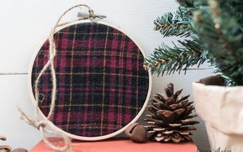 plaid flannel and embroidery hoop wreaths, christmas decorations, crafts, repurposing upcycling, wreaths