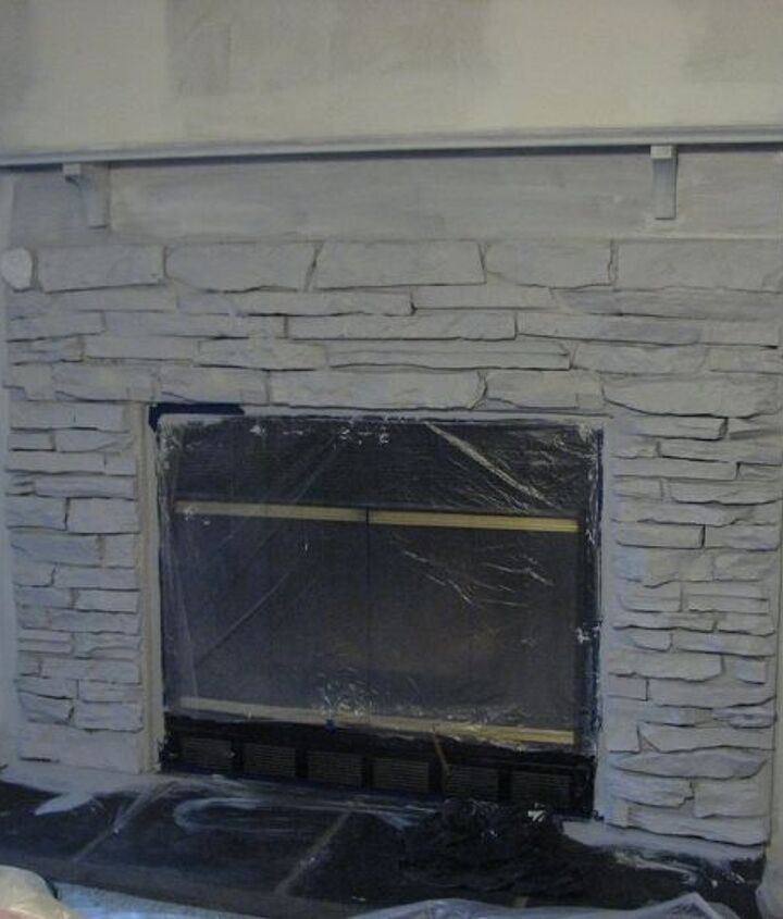 my painted fireplace, diy, fireplaces mantels, living room ideas, painting