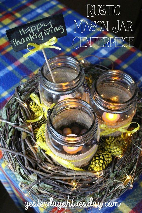 rustic thanksgiving centerpieice, crafts, mason jars, seasonal holiday decor, thanksgiving decorations