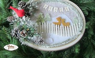 cookie tin turned winter wonderland, christmas decorations, crafts, how to, repurposing upcycling