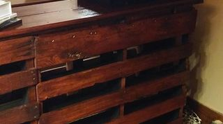 pallet paradise bar, diy, pallet, woodworking projects, this one has the foot rest finished