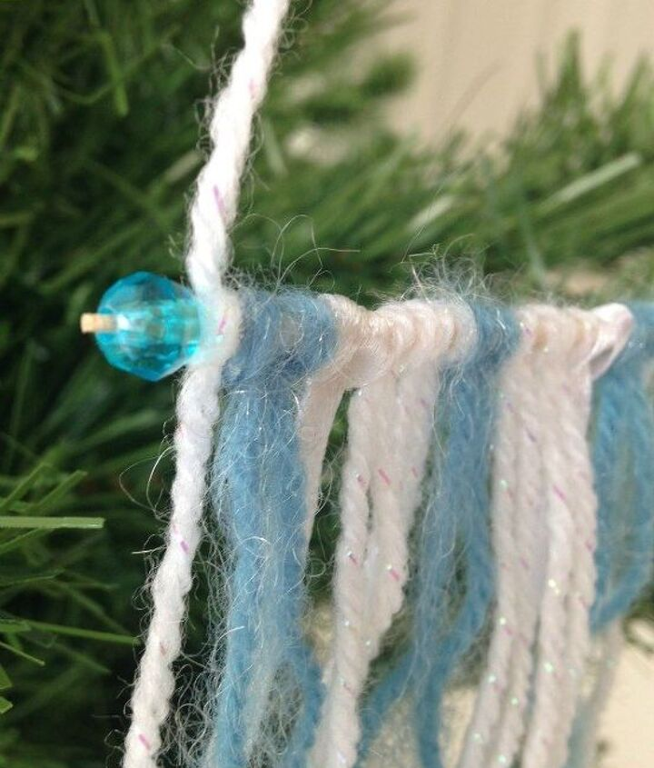 mini yarn wall hanging ornament, christmas decorations, seasonal holiday decor