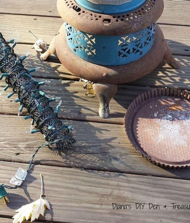 repurposed oil burner light, outdoor living, repurposing upcycling, seasonal holiday decor