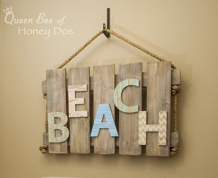 diy beach wall art from pallet, crafts, diy, how to, pallet, wall decor, woodworking projects