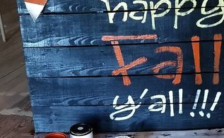 happy fall y all pallet project for your front steps, crafts, pallet, seasonal holiday decor