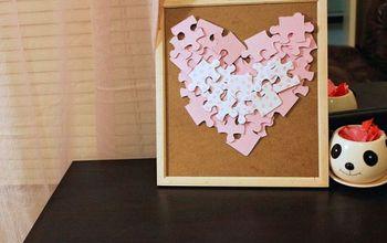 diy puzzle heart nursery art a 1hourproject, crafts