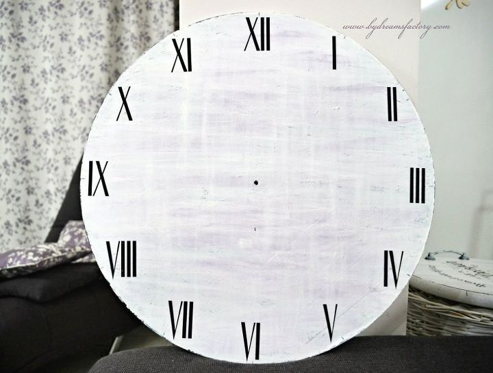 diy large french clock a free printable, crafts, shabby chic