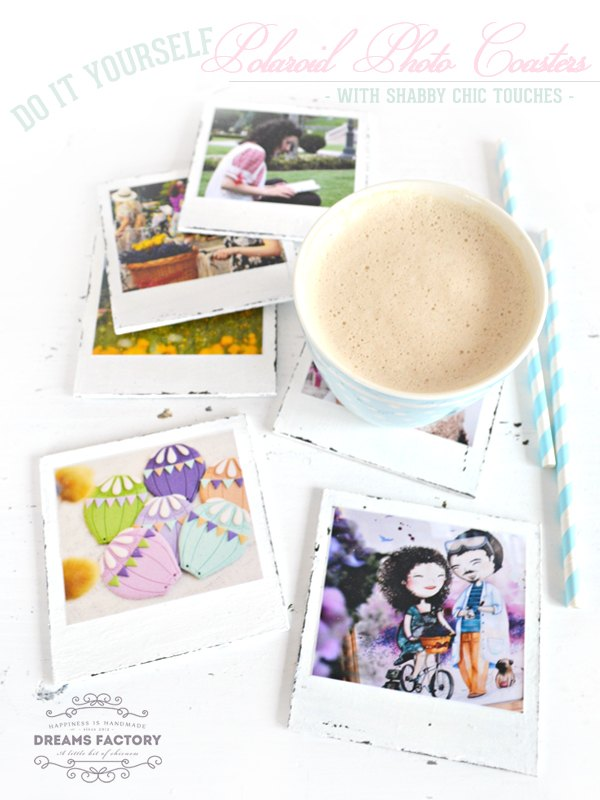 diy polaroid photo coasters with shabby chic touches, crafts, seasonal holiday decor, shabby chic