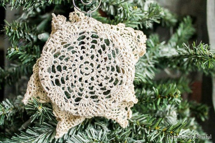 diy doily christmas ornament, christmas decorations, crafts, repurposing upcycling, seasonal holiday decor