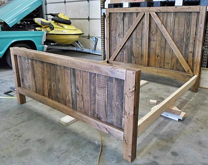 Pallet wood up cycled into one heavy duty barn door bed for Pallet bed frame with side tables