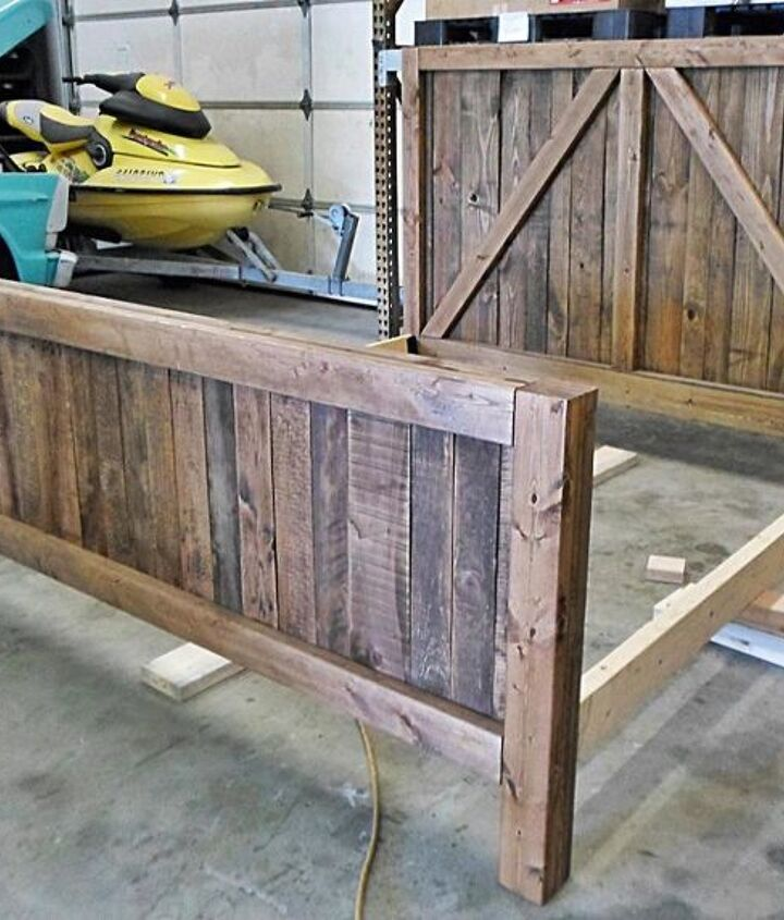 pallet wood up cycled into one heavy duty barn door bed, bedroom ideas, diy, pallet, rustic furniture, woodworking projects