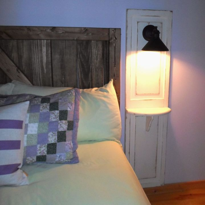 master bedroom up cycled bi fold doors turned reading light w shelf, bedroom ideas, diy, doors, painted furniture, repurposing upcycling, woodworking projects