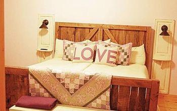 Master Bedroom Up-cycled Bi-fold Doors Turned Reading Light W/shelf!