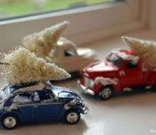 die cast car with snow and christmas tree, christmas decorations, crafts, seasonal holiday decor