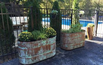 copper patina and rust container gardens, container gardening, repurposing upcycling, Copper Patina and Rust container gardens