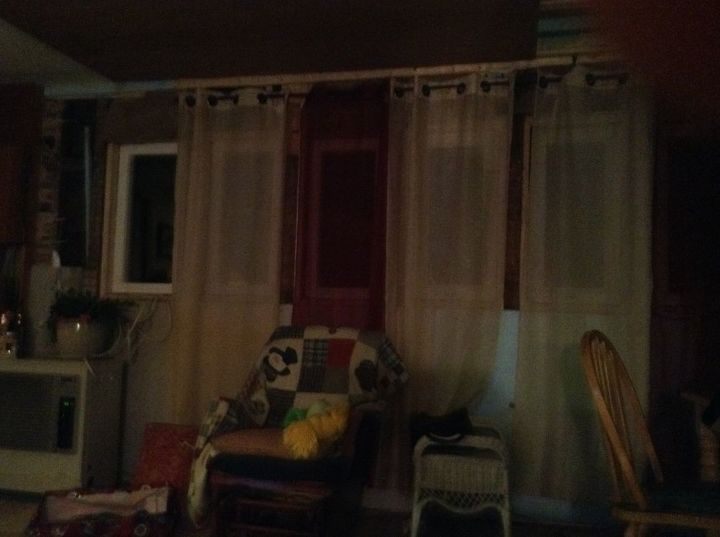 q what would you recommend for a type of curtain for eight small windows, home decor, home decor dilemma, reupholster, window treatments, windows