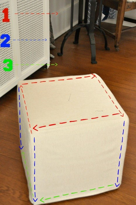 how to slipcover an ottoman, how to, reupholster