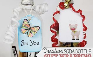 use soda bottles to wrap gifts, crafts, repurposing upcycling