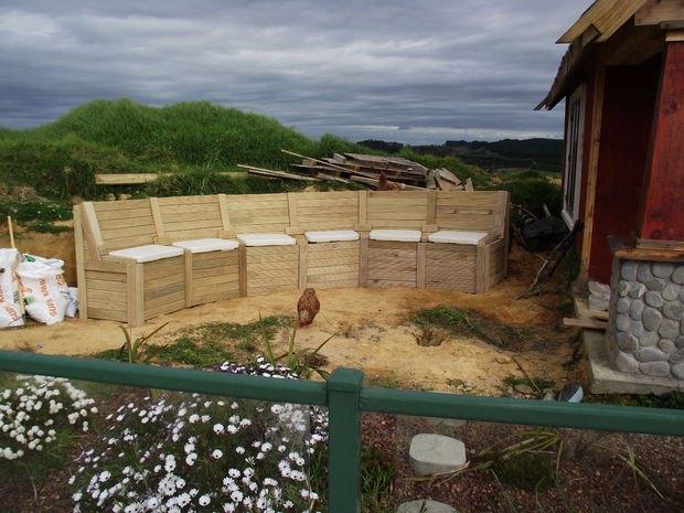 combined garden modular seating retaining wall storage, diy, landscape, outdoor furniture, storage ideas