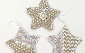 handmade christmas ornaments shabby chic linen stars, christmas decorations, seasonal holiday decor, shabby chic
