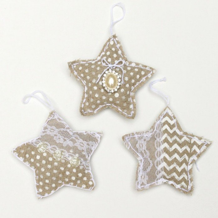 handmade christmas ornaments shabby chic linen stars, christmas decorations, seasonal holiday decor, shabby chic