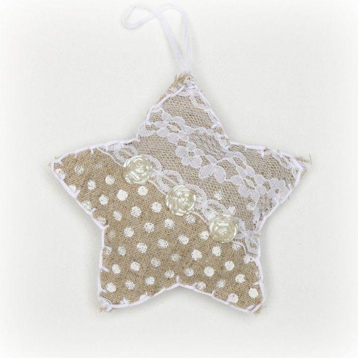 handmade christmas ornaments shabby chic linen stars christmas decorations seasonal holiday decor shabby - Handmade Shabby Chic Christmas Decorations