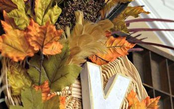 Upcycled Fall Basket Wreath