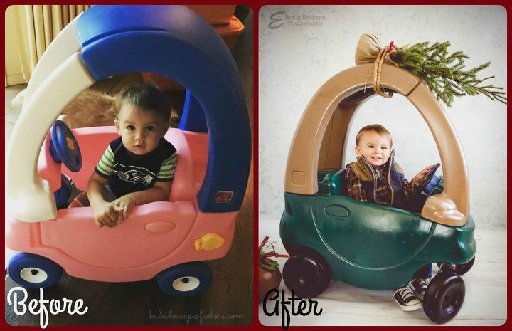 christmas trees on cars little tikes car diy christmas decorations crafts