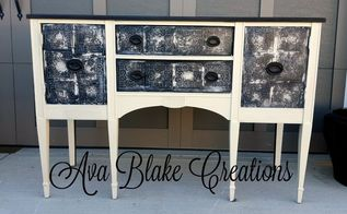 faux tin tile buffet, chalk paint, painted furniture