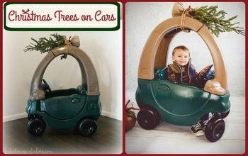 christmas trees on cars little tikes car diy, christmas decorations, crafts