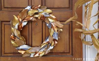 metallic painted leaf magnolia wreath, christmas decorations, crafts, seasonal holiday decor, wreaths