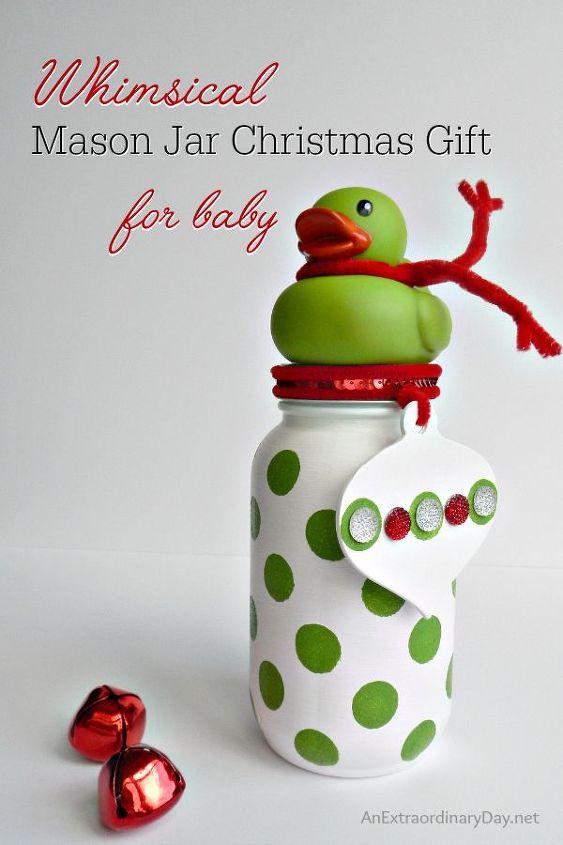 polka dot mason jar christmas gift for baby girl, christmas decorations, crafts, mason jars, seasonal holiday decor