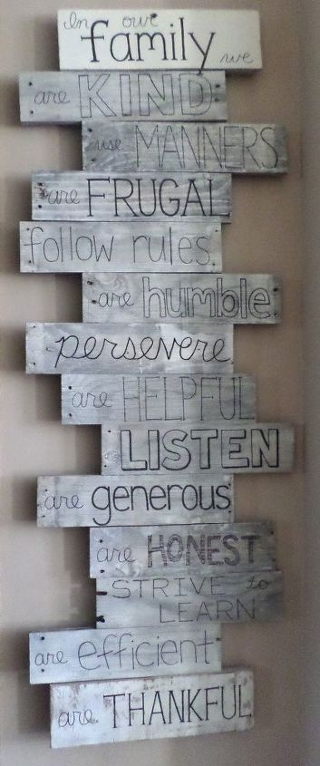pallet wood family values sign, crafts, diy, home decor, pallet, wall decor