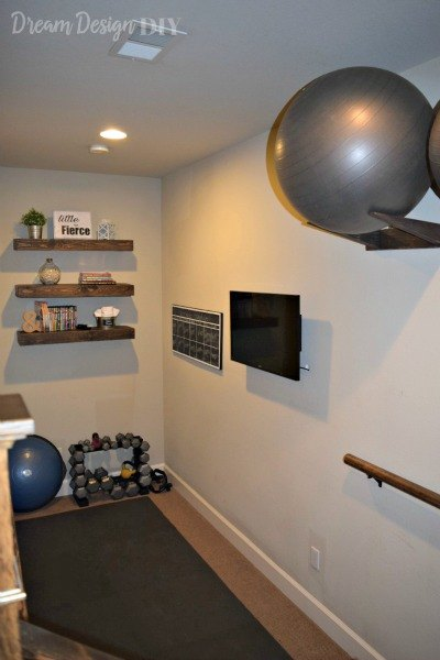 one room challenge workout room makeover, basement ideas, organizing, storage ideas