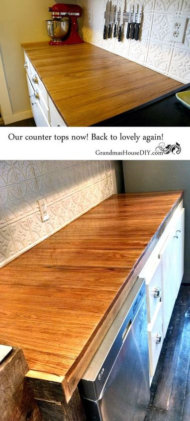 the horror story of our oak counter tops and how i fixed them, countertops, home improvement, kitchen design, woodworking projects