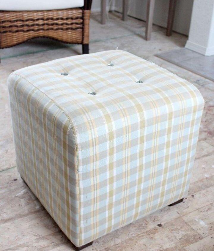 reupholstered thrift shop ottoman, reupholster