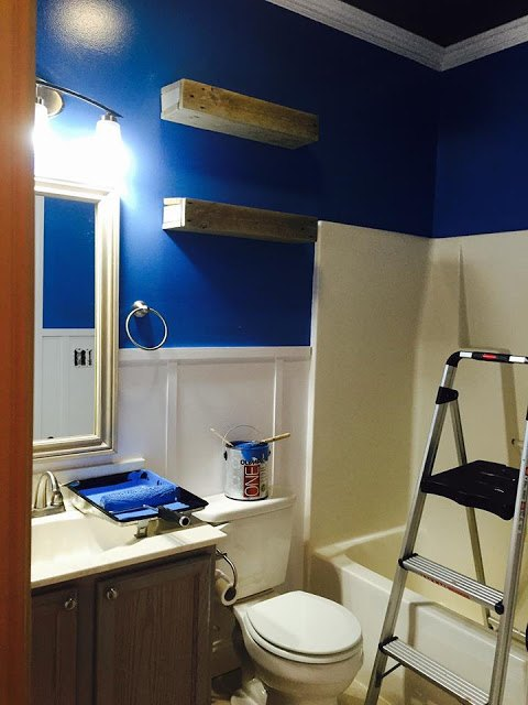 A Mom Decorates Her Kids Bathroom She Paints The Walls A Cobalt