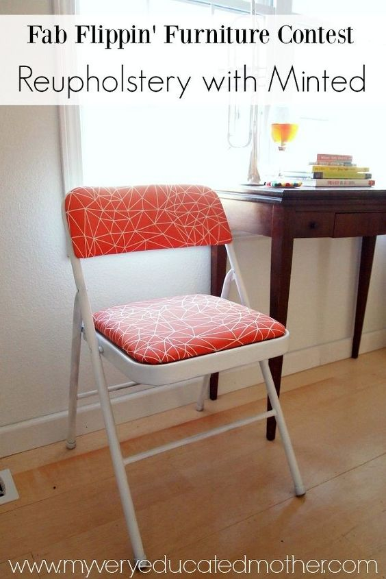from practical folding chair to stylish seat with minted fabric, how to, painted furniture, reupholster