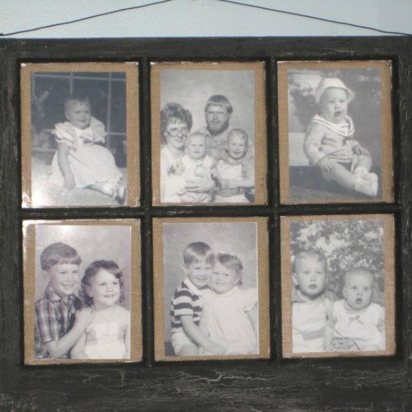s from your community 10 inexpensive shortcuts to a better holiday home, home decor, home improvement, repurposing upcycling, Arrange family photos in an old window