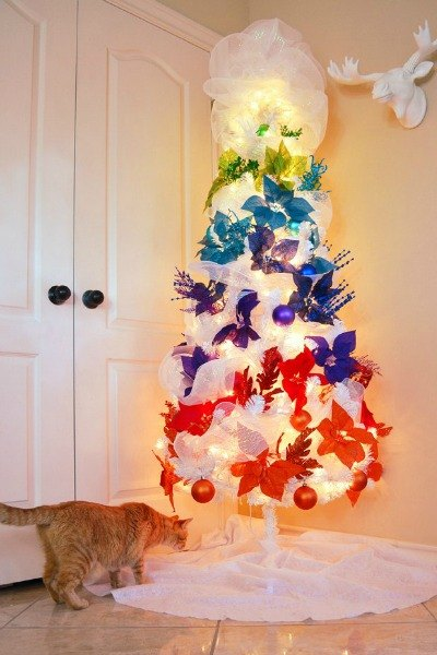 s 20 fake christmas trees you ll wish you d seen sooner, christmas decorations, repurposing upcycling, seasonal holiday decor, Outstanding Rainbow Ombre