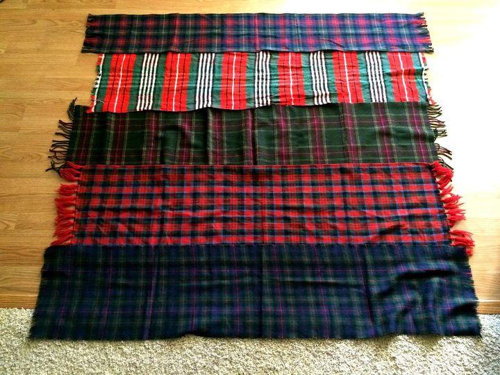 diy plaid throw blanket from vintage wool scarves, crafts