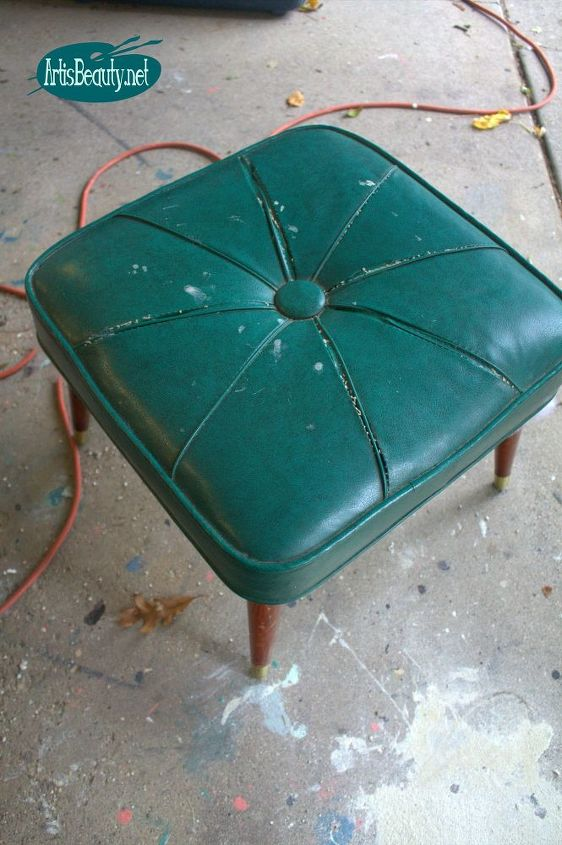 beat up mcm mini ottoman makeover, how to, repurposing upcycling, reupholster