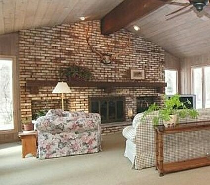 Large Brick Fireplace Wall In Family Room Need Of Update