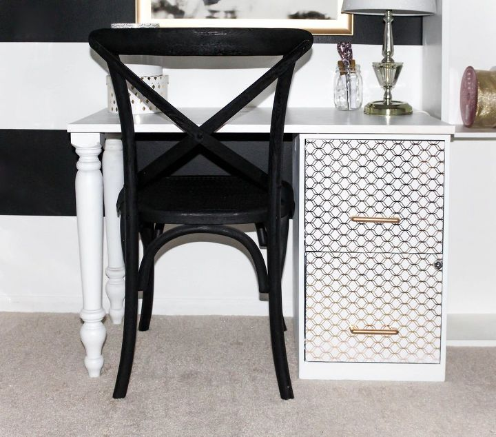 diy file cabinet desk, decoupage, how to, painted furniture, repurposing upcycling