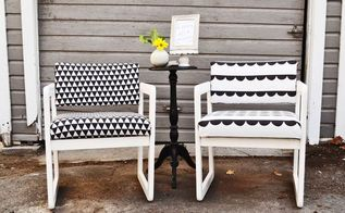 his hers chair makeover, painted furniture, reupholster