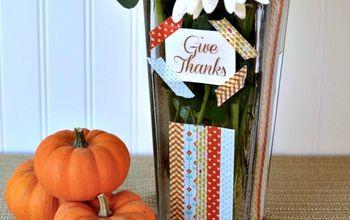 washi tape vase a diy gift for thanksgiving, crafts, decoupage, seasonal holiday decor