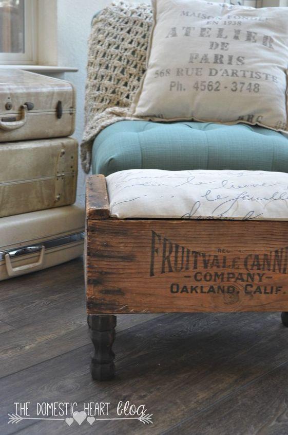 vintage crate diy footstool hdgiftchallenge, diy, painted furniture, repurposing upcycling