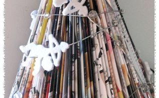 christmas trees from magazines, christmas decorations, crafts, repurposing upcycling